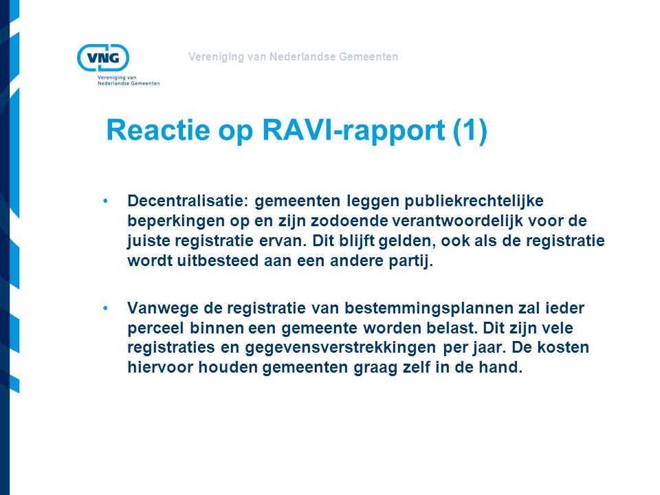 Reactie op RAVI-rapport (1)