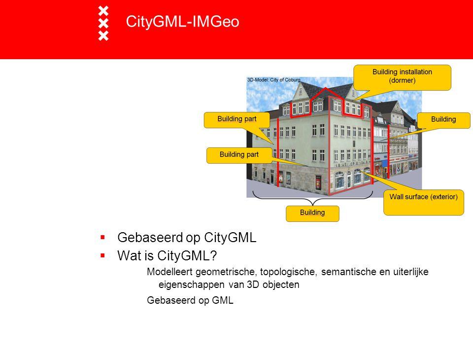 CityGML-IMGeo Gebaseerd op CityGML Wat is CityGML