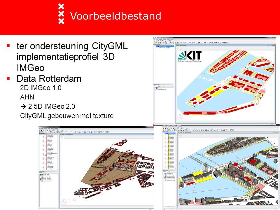 Voorbeeldbestand ter ondersteuning CityGML implementatieprofiel 3D IMGeo. Data Rotterdam. 2D IMGeo 1.0.