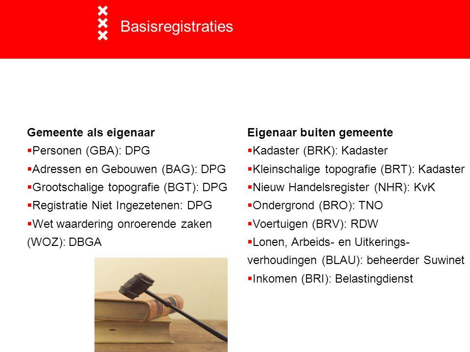 Basisregistraties Gemeente als eigenaar Personen (GBA): DPG