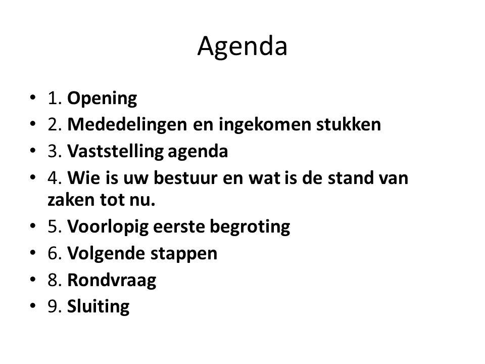 Agenda 1. Opening 2. Mededelingen en ingekomen stukken