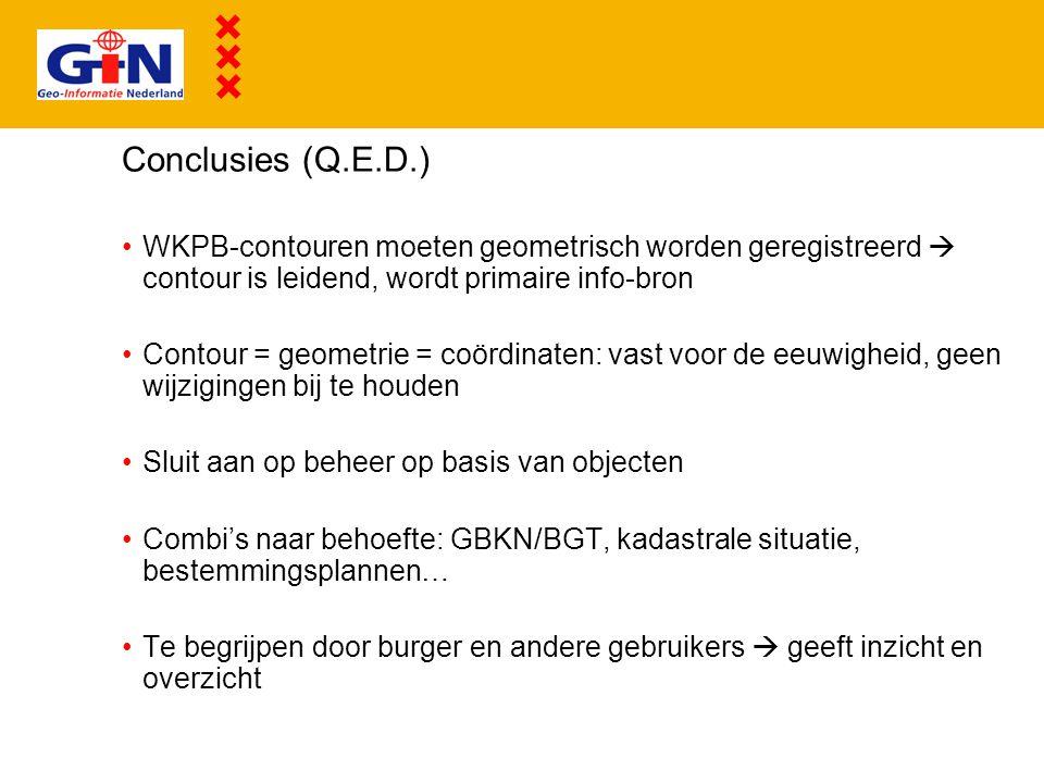 Conclusies (Q.E.D.) WKPB-contouren moeten geometrisch worden geregistreerd  contour is leidend, wordt primaire info-bron.