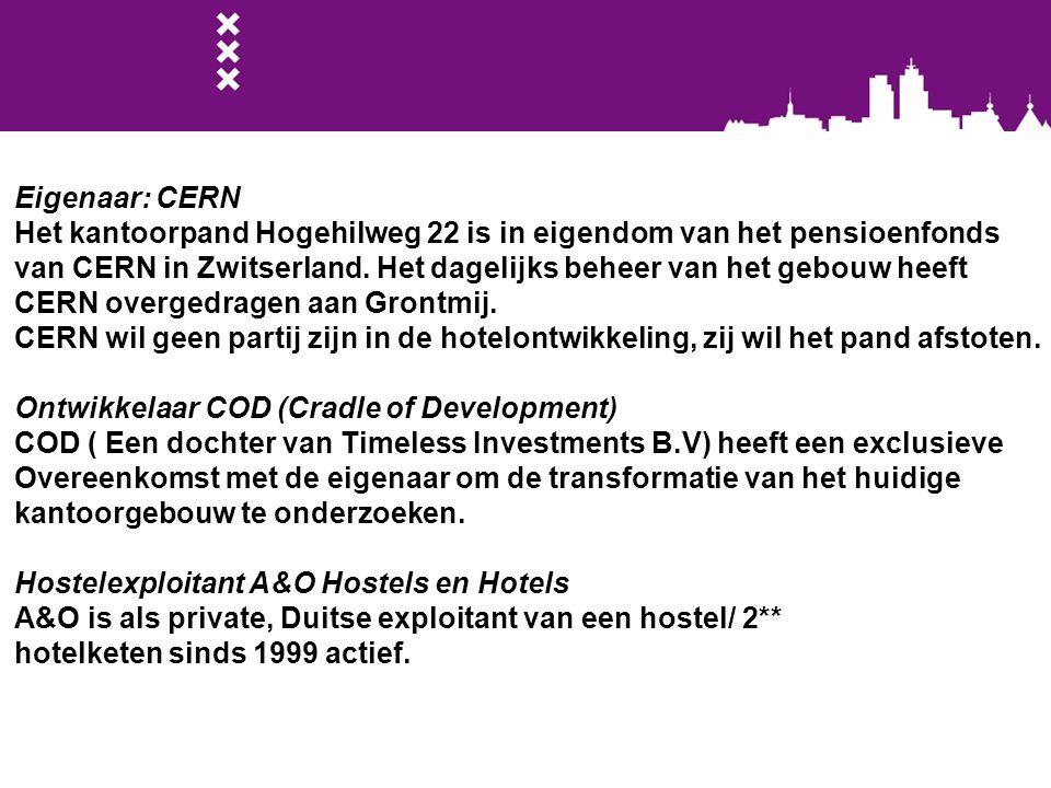 Eigenaar: CERN Het kantoorpand Hogehilweg 22 is in eigendom van het pensioenfonds.