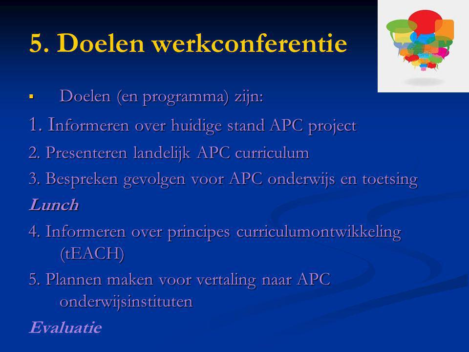 5. Doelen werkconferentie