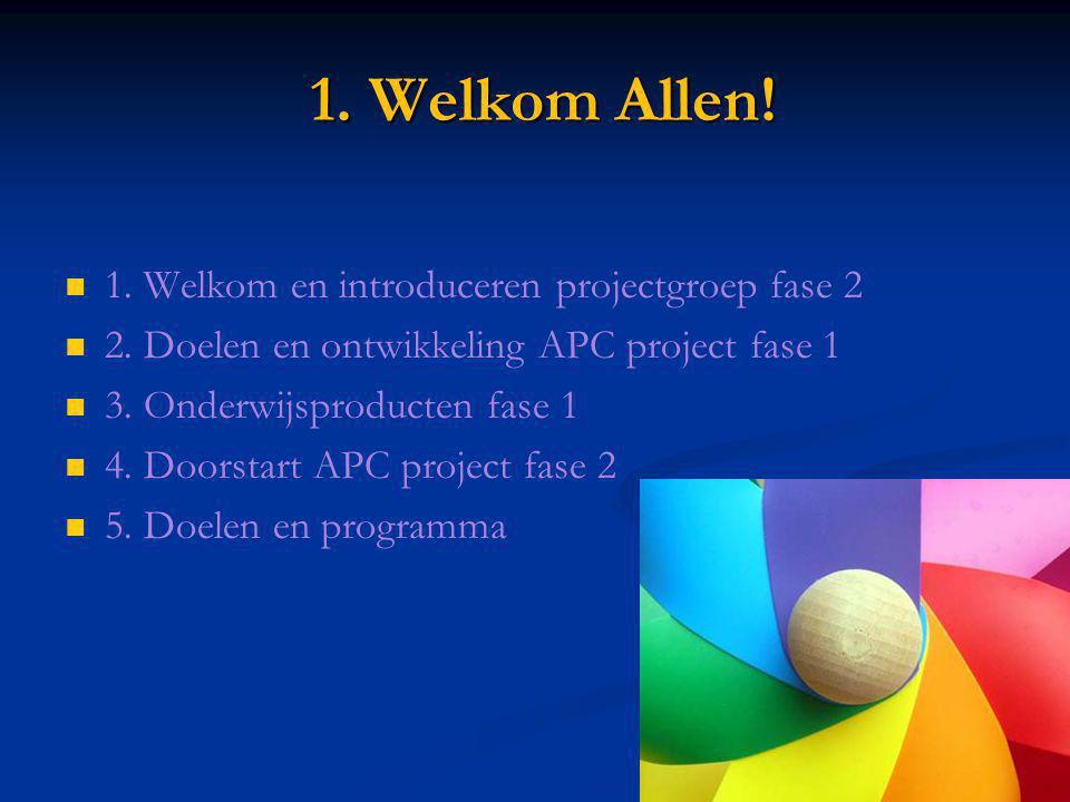 1. Welkom Allen! 1. Welkom en introduceren projectgroep fase 2