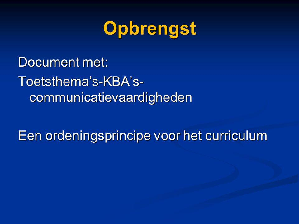 Opbrengst Document met: Toetsthema's-KBA's-communicatievaardigheden Een ordeningsprincipe voor het curriculum