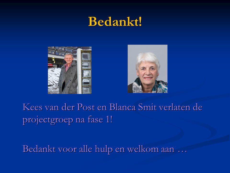 Bedankt. Kees van der Post en Blanca Smit verlaten de projectgroep na fase 1.