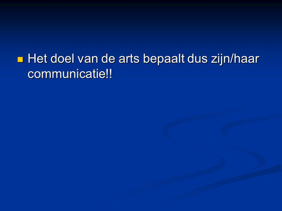 Het doel van de arts bepaalt dus zijn/haar communicatie!!