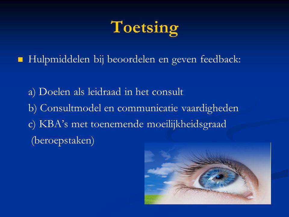 Toetsing Hulpmiddelen bij beoordelen en geven feedback: