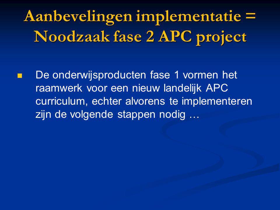 Aanbevelingen implementatie = Noodzaak fase 2 APC project