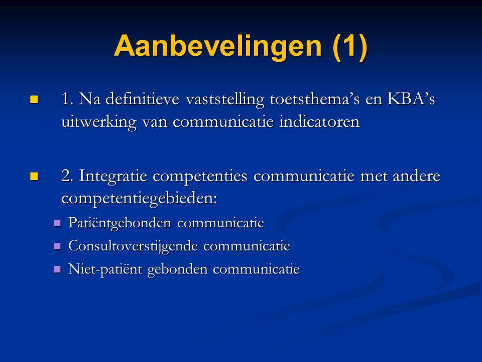 Aanbevelingen (1) 1. Na definitieve vaststelling toetsthema's en KBA's uitwerking van communicatie indicatoren.