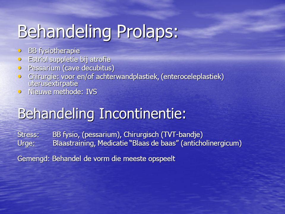 Behandeling Prolaps: Behandeling Incontinentie: BB fysiotherapie