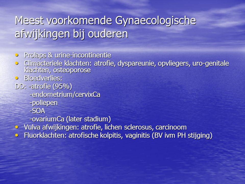 Meest voorkomende Gynaecologische afwijkingen bij ouderen