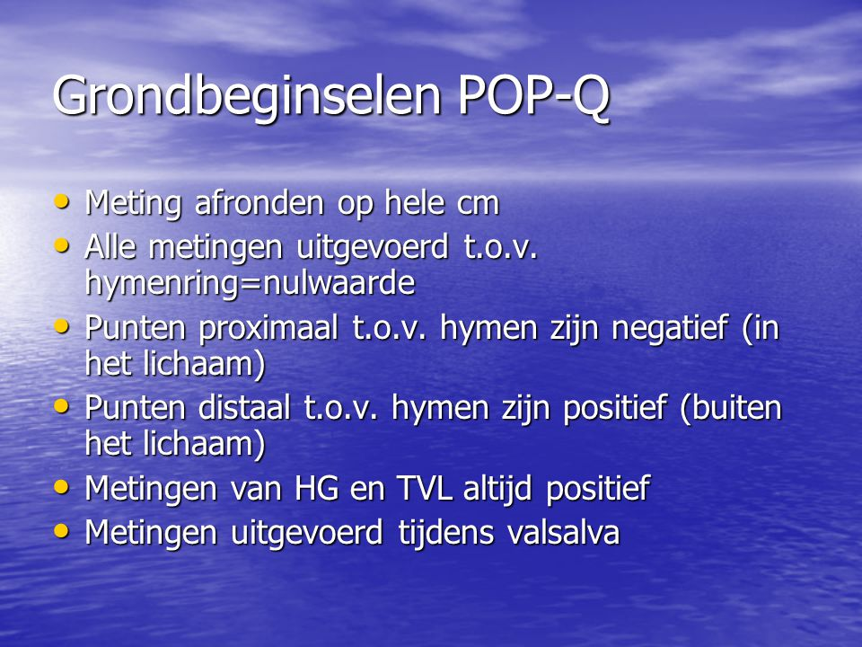 Grondbeginselen POP-Q