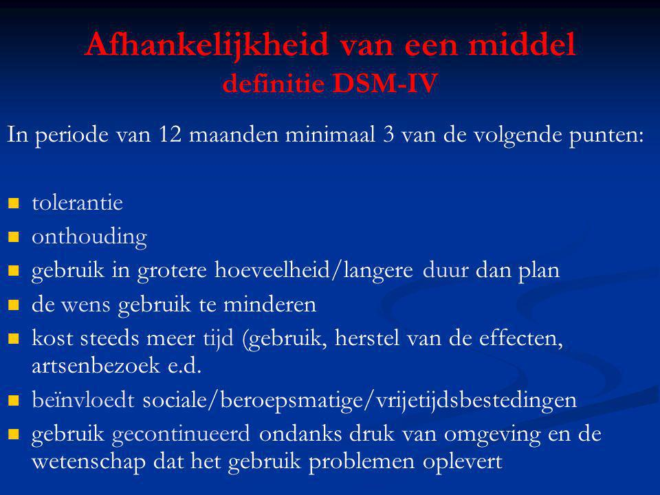 Afhankelijkheid van een middel definitie DSM-IV