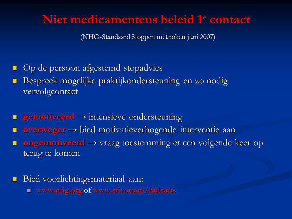 Niet medicamenteus beleid 1e contact (NHG-Standaard Stoppen met roken juni 2007)