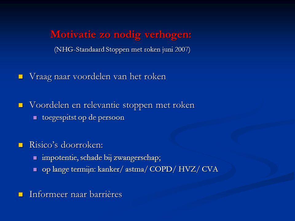 Motivatie zo nodig verhogen: (NHG-Standaard Stoppen met roken juni 2007)