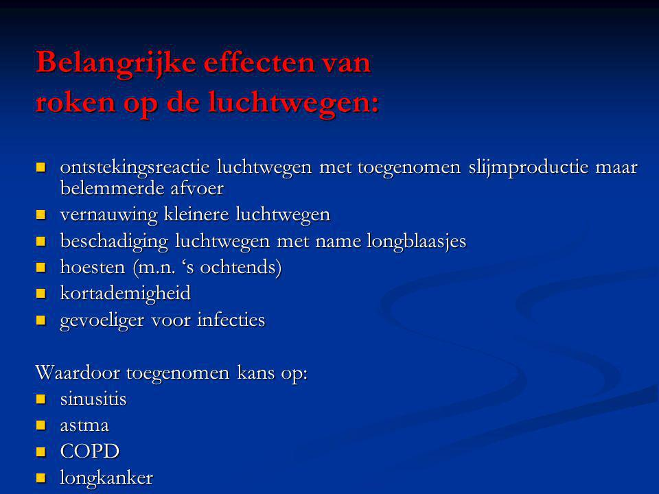 Belangrijke effecten van roken op de luchtwegen: