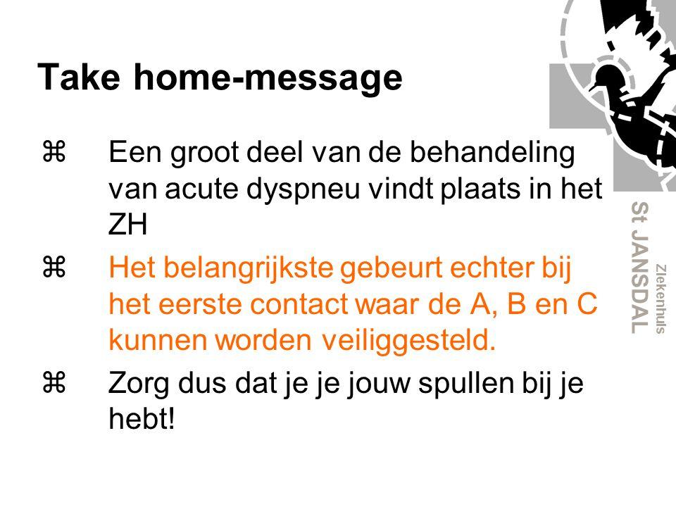 Take home-message Een groot deel van de behandeling van acute dyspneu vindt plaats in het ZH.