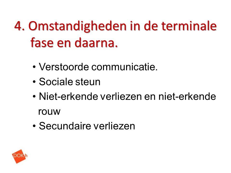 4. Omstandigheden in de terminale fase en daarna.