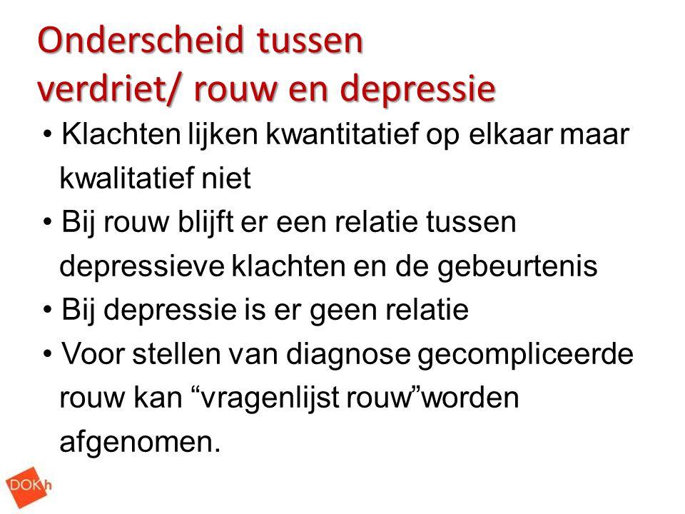 Onderscheid tussen verdriet/ rouw en depressie