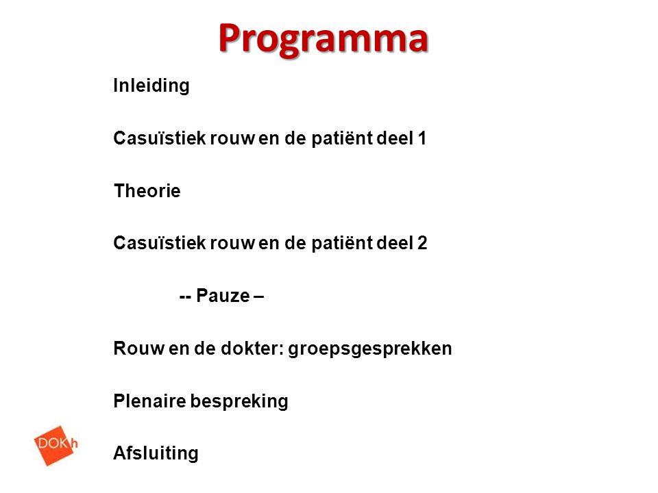 Programma Inleiding Casuïstiek rouw en de patiënt deel 1 Theorie