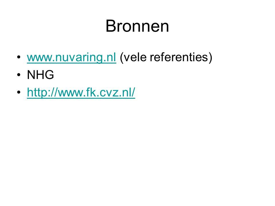 Bronnen www.nuvaring.nl (vele referenties) NHG http://www.fk.cvz.nl/