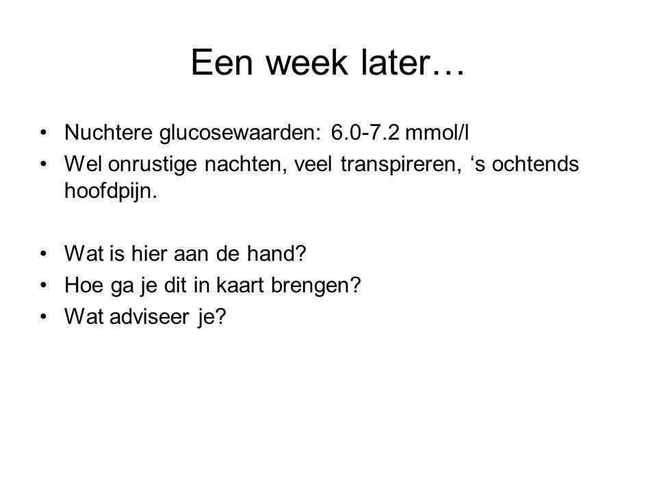 Een week later… Nuchtere glucosewaarden: 6.0-7.2 mmol/l