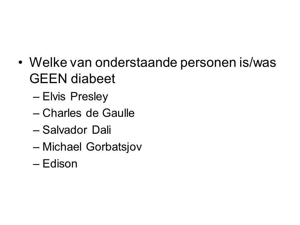 Welke van onderstaande personen is/was GEEN diabeet