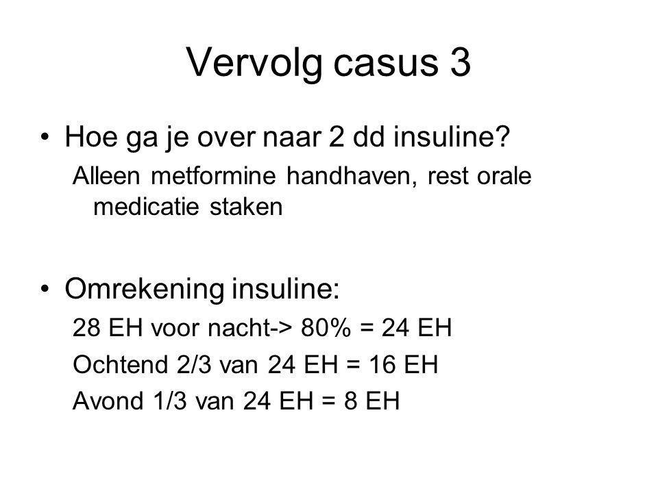 Vervolg casus 3 Hoe ga je over naar 2 dd insuline