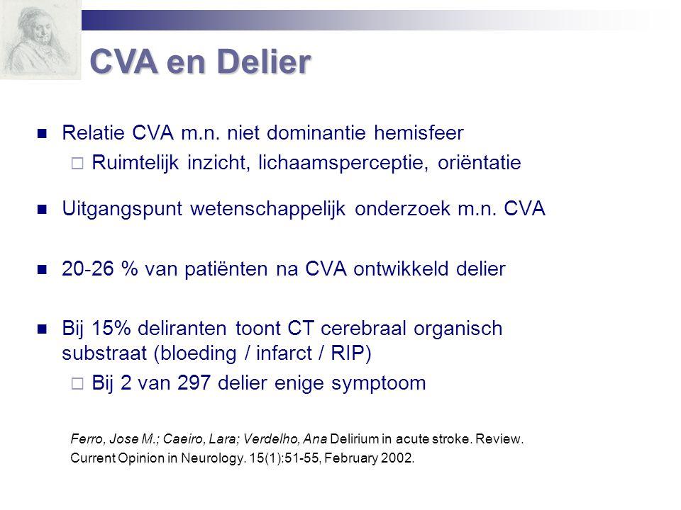CVA en Delier Relatie CVA m.n. niet dominantie hemisfeer