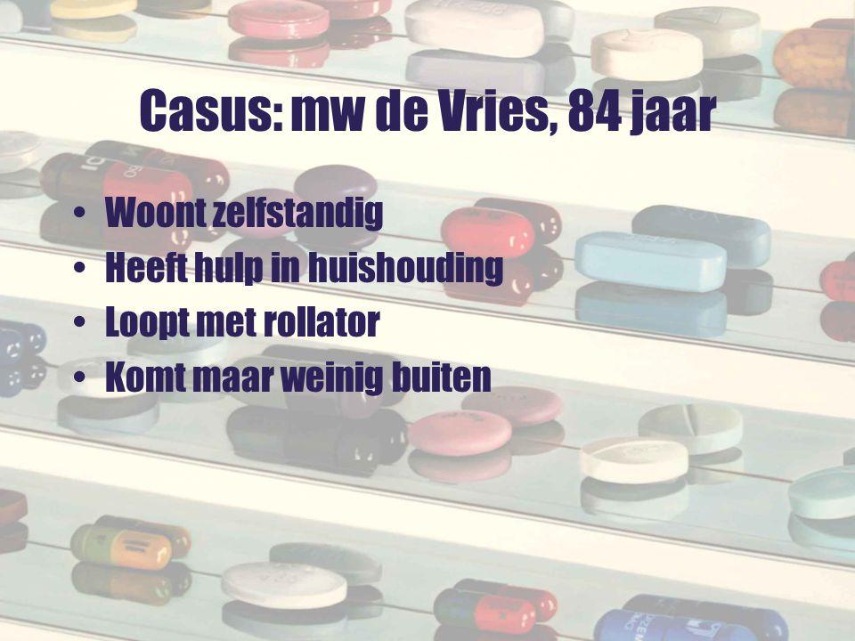 Casus: mw de Vries, 84 jaar Woont zelfstandig
