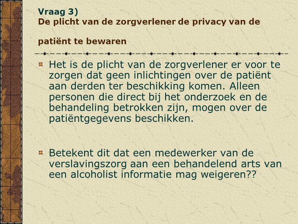 Vraag 3) De plicht van de zorgverlener de privacy van de patiënt te bewaren