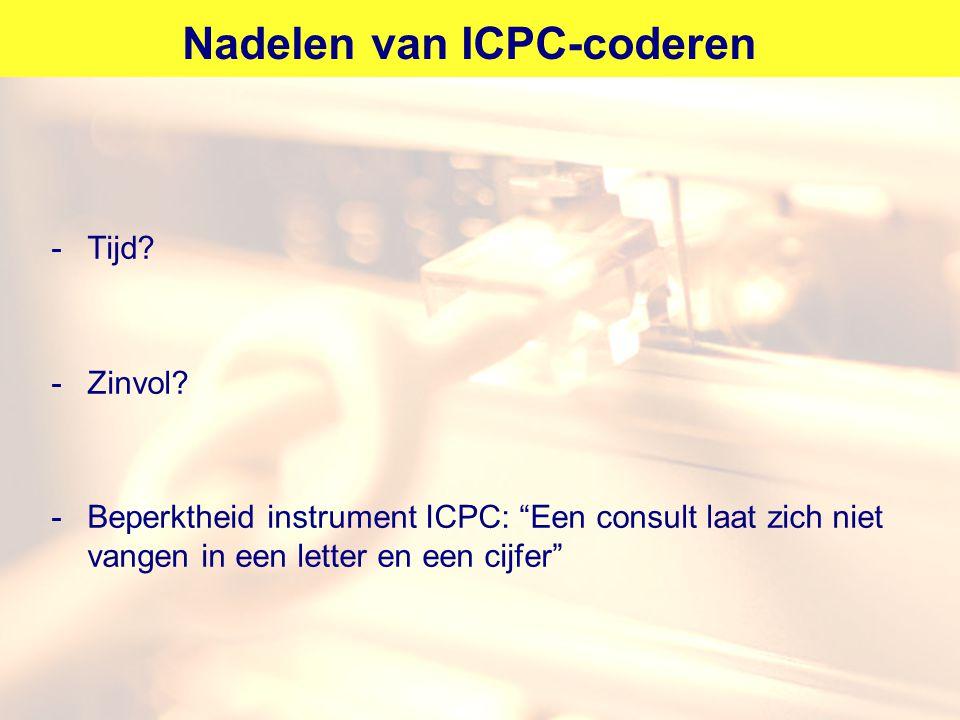Nadelen van ICPC-coderen