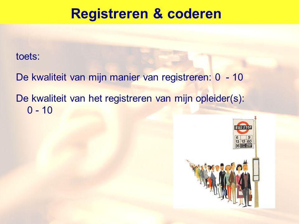 Registreren & coderen toets: