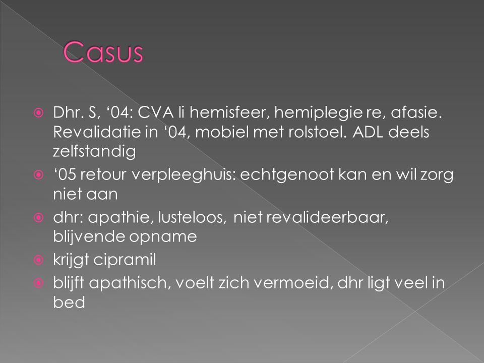 Casus Dhr. S, '04: CVA li hemisfeer, hemiplegie re, afasie. Revalidatie in '04, mobiel met rolstoel. ADL deels zelfstandig.