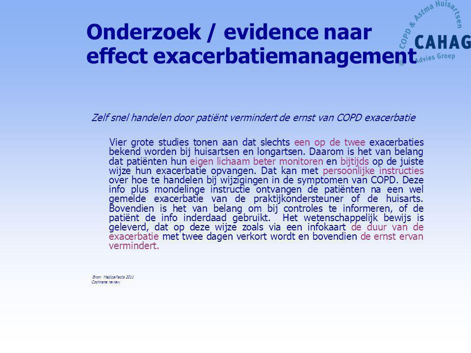 Onderzoek / evidence naar effect exacerbatiemanagement