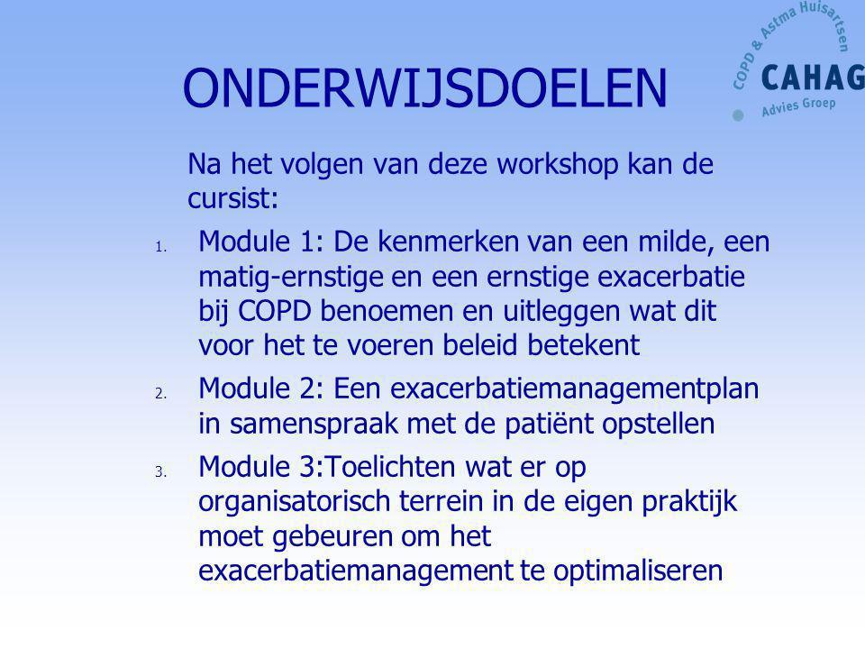 ONDERWIJSDOELEN Na het volgen van deze workshop kan de cursist: