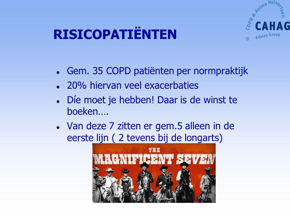 RISICOPATIËNTEN Gem. 35 COPD patiënten per normpraktijk