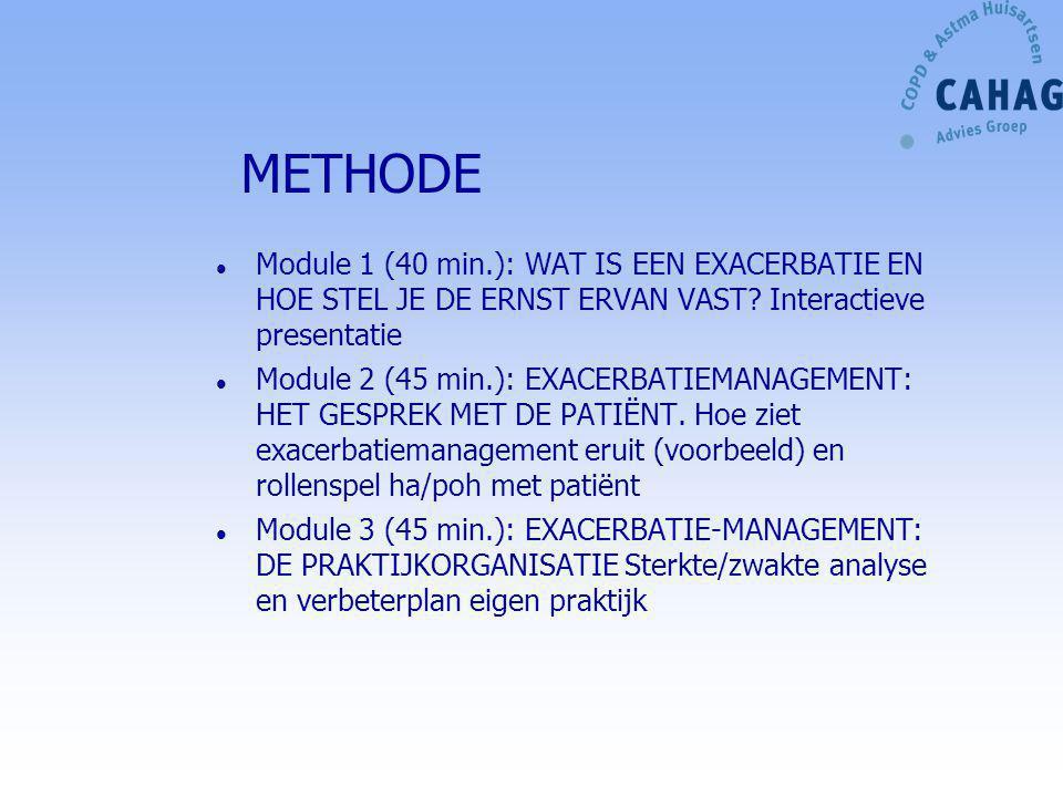 METHODE Module 1 (40 min.): WAT IS EEN EXACERBATIE EN HOE STEL JE DE ERNST ERVAN VAST Interactieve presentatie.