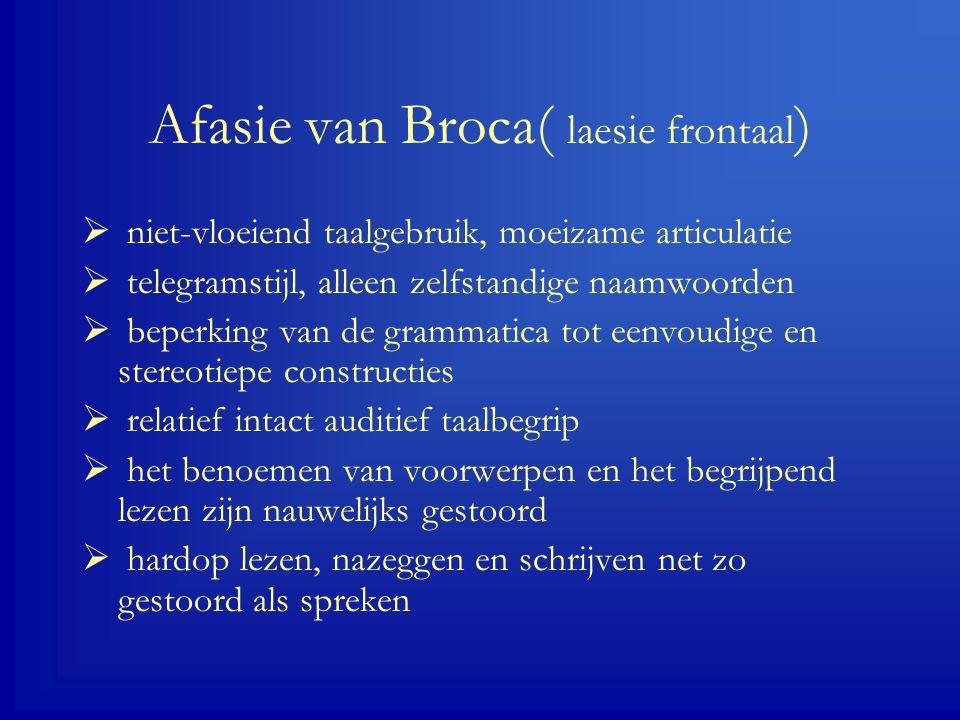 Afasie van Broca( laesie frontaal)