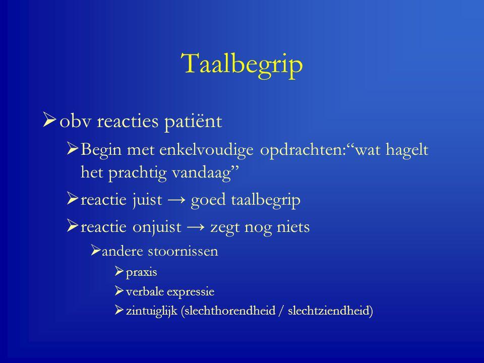 Taalbegrip obv reacties patiënt