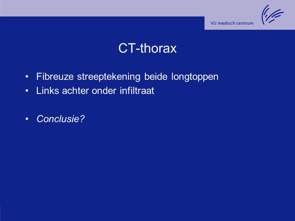 CT-thorax Fibreuze streeptekening beide longtoppen