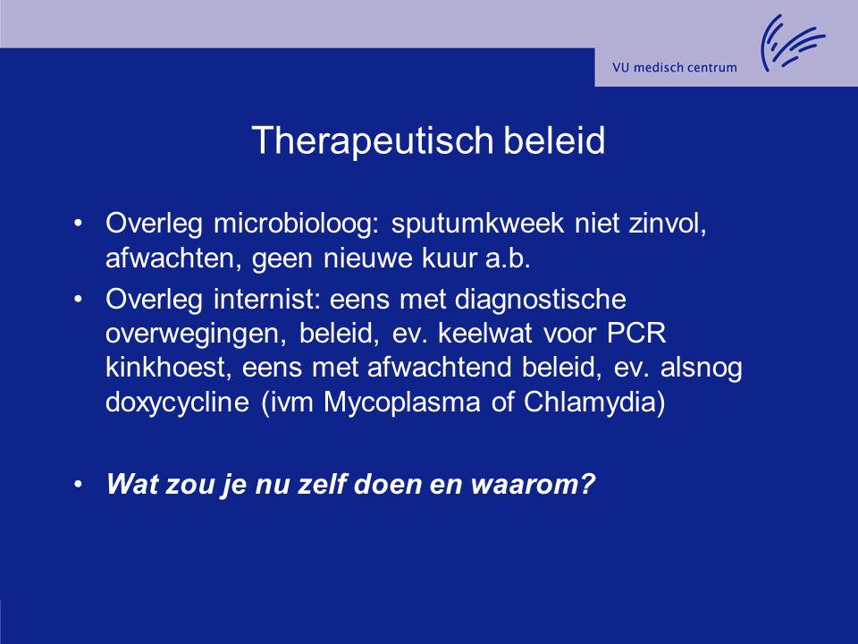 Therapeutisch beleid Overleg microbioloog: sputumkweek niet zinvol, afwachten, geen nieuwe kuur a.b.