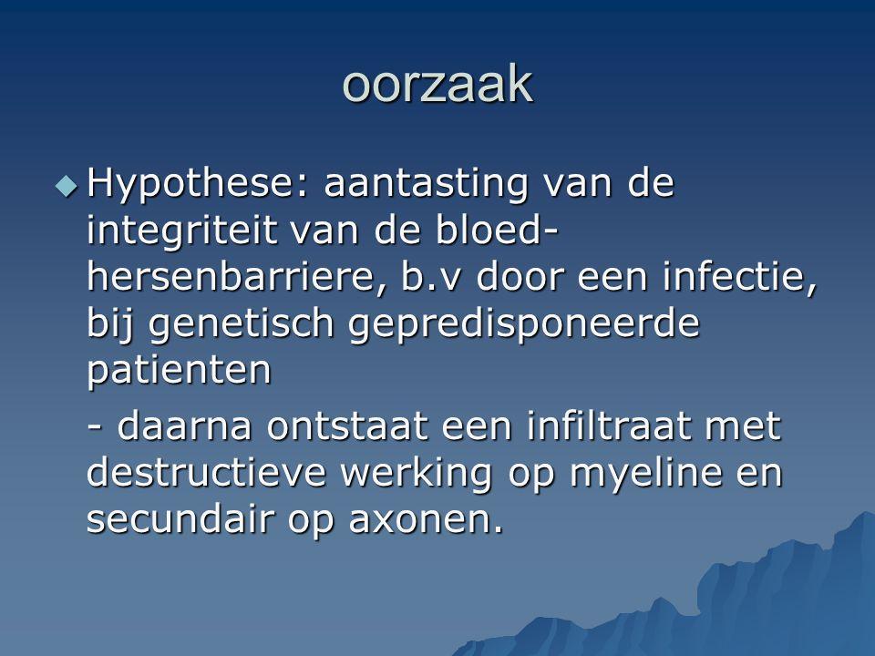 oorzaak Hypothese: aantasting van de integriteit van de bloed-hersenbarriere, b.v door een infectie, bij genetisch gepredisponeerde patienten.