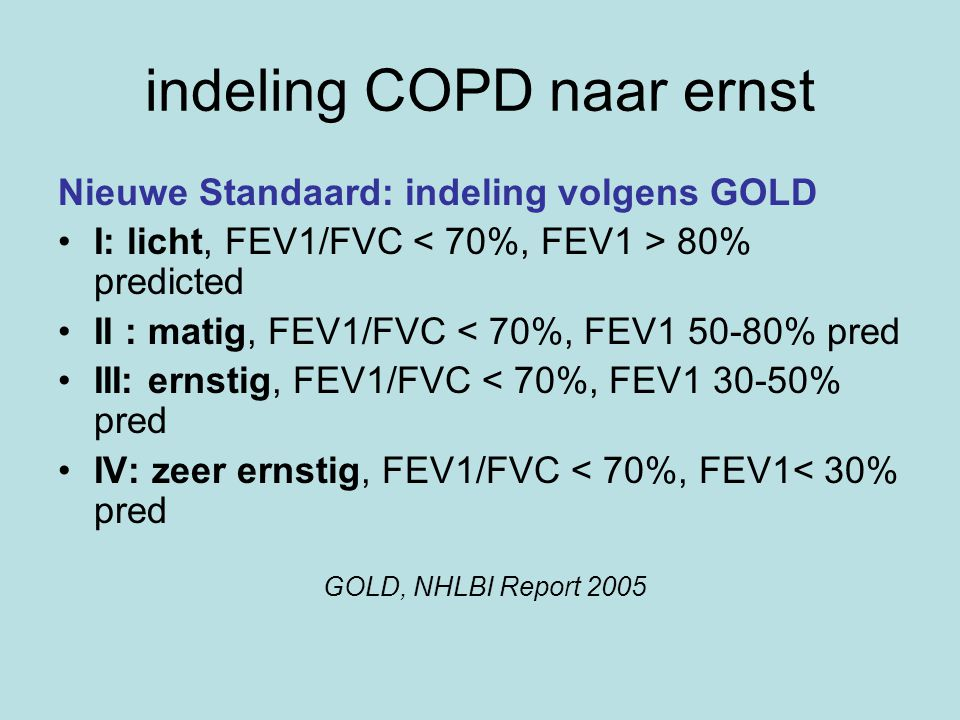 indeling COPD naar ernst
