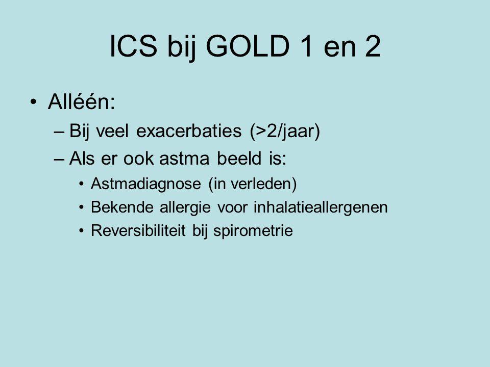 ICS bij GOLD 1 en 2 Alléén: Bij veel exacerbaties (>2/jaar)