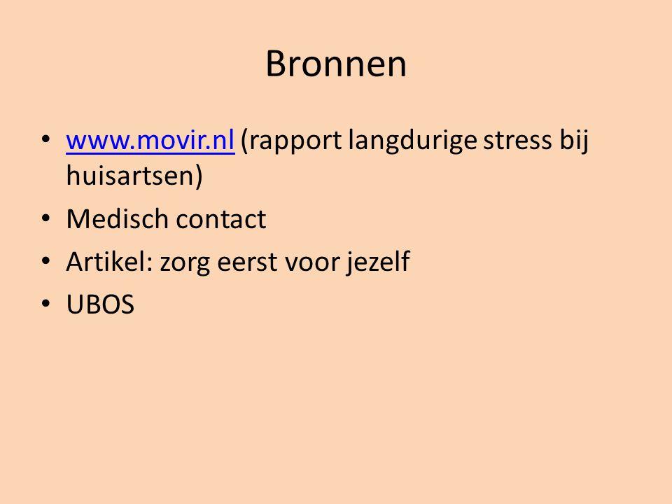Bronnen www.movir.nl (rapport langdurige stress bij huisartsen)
