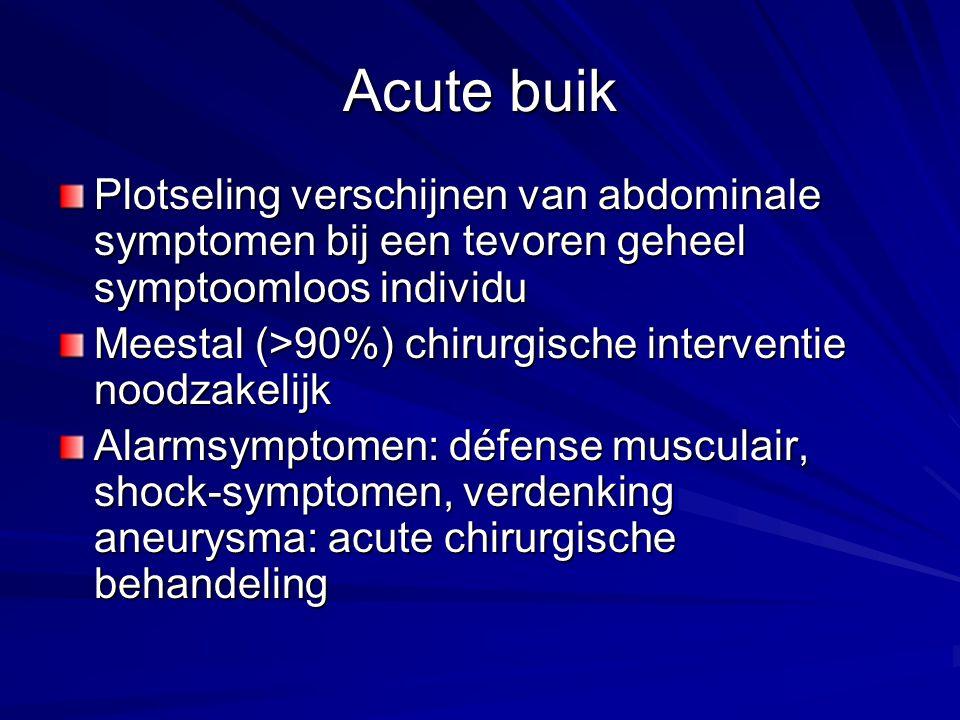 Acute buik Plotseling verschijnen van abdominale symptomen bij een tevoren geheel symptoomloos individu.