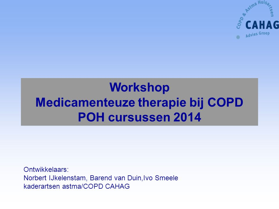 Workshop Medicamenteuze therapie bij COPD